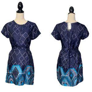 NWT Banana Republic Silk Blend Navy Print Dress S